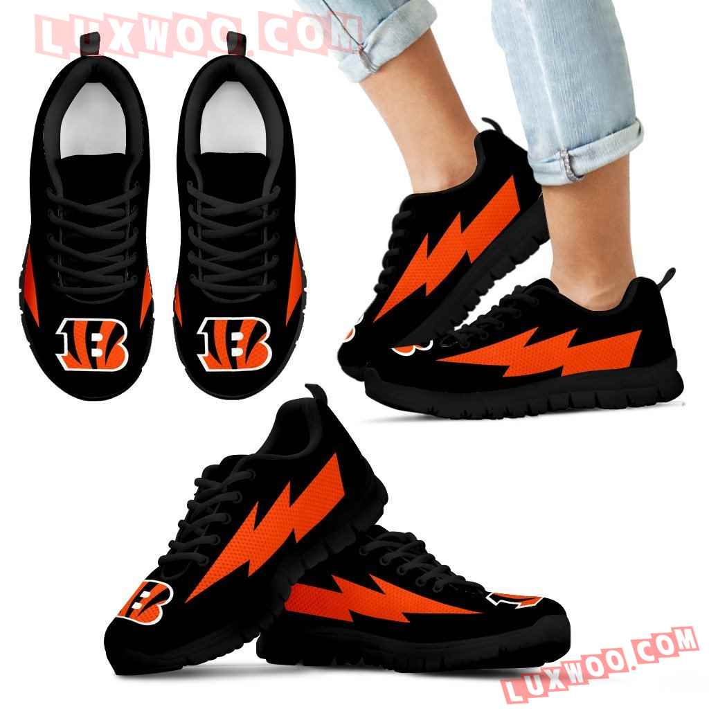 Amazing Cincinnati Bengals Sneakers Thunder Lightning Amazing Logo