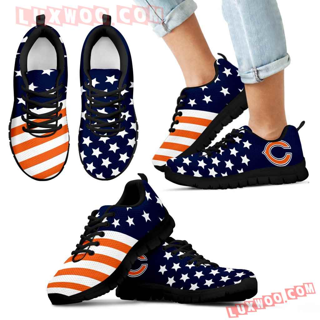 America Flag Full Stars Stripes Chicago Bears Sneakers