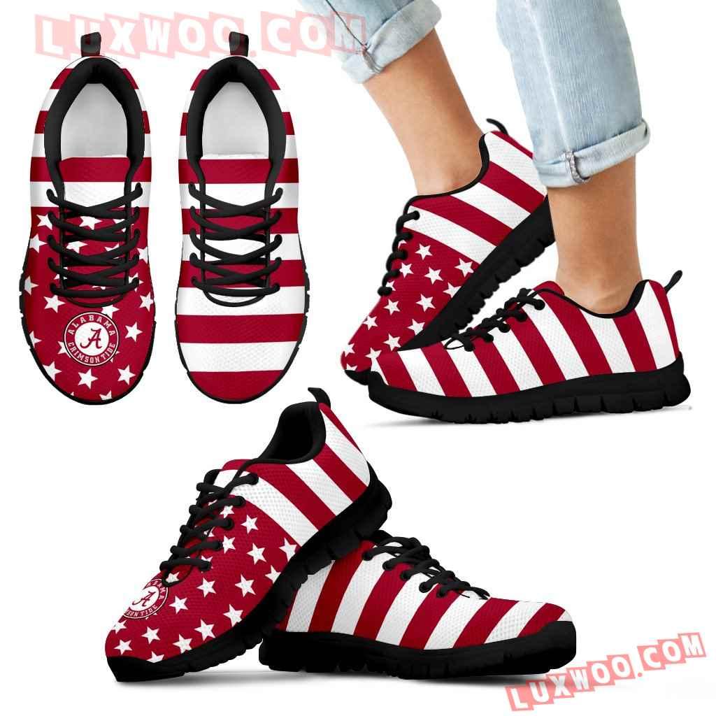America Flag Logo Bottom Stripes Alabama Crimson Tide Sneakers