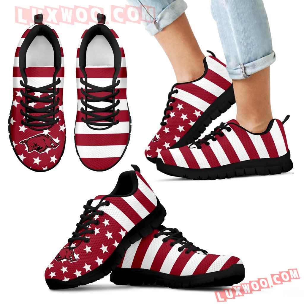 America Flag Logo Bottom Stripes Arkansas Razorbacks Sneakers