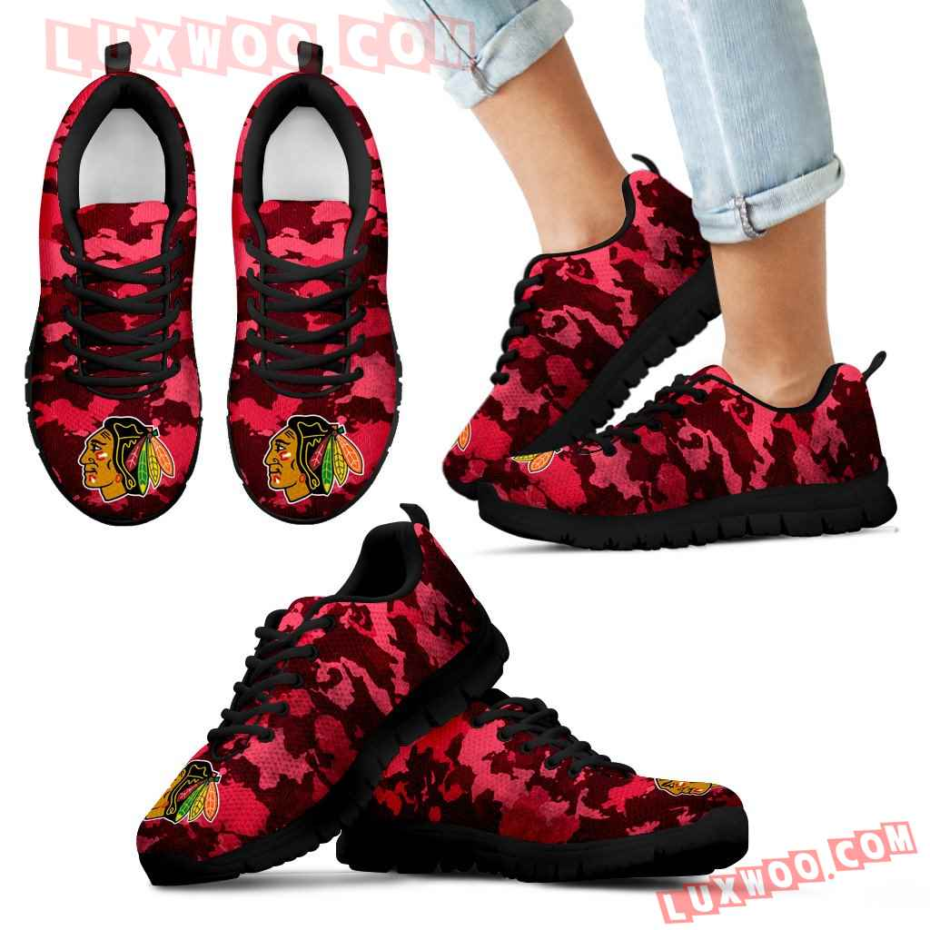 Arches Top Fabulous Camouflage Background Chicago Blackhawks Sneakers