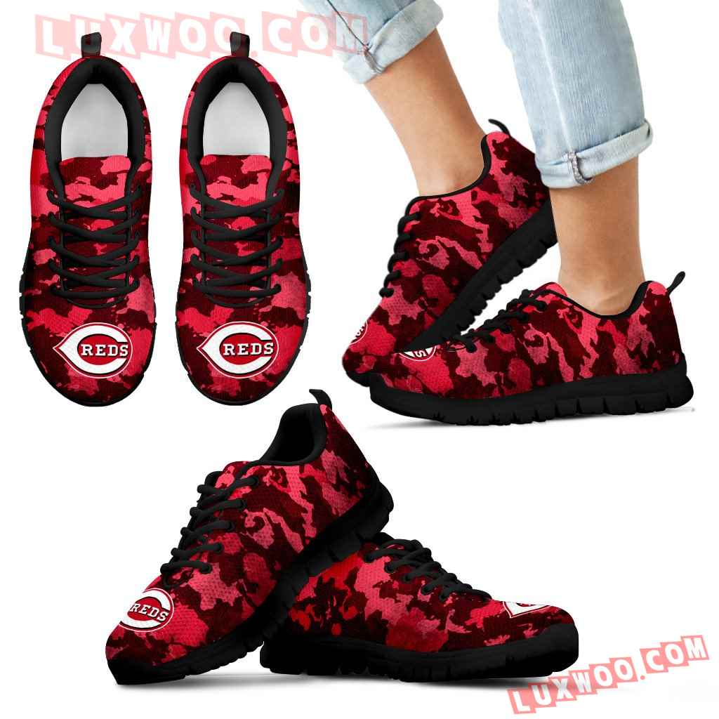 Arches Top Fabulous Camouflage Background Cincinnati Reds Sneakers