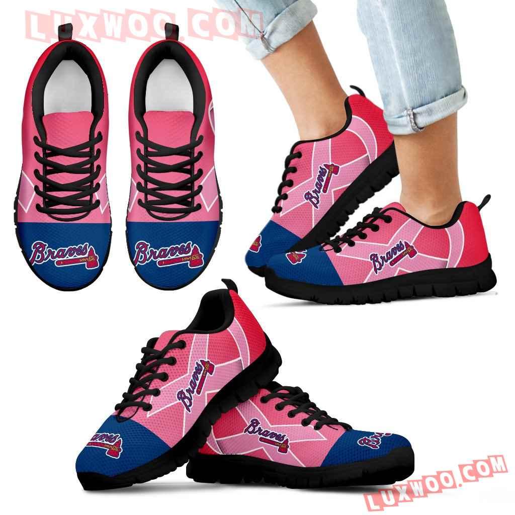 Atlanta Braves Cancer Pink Ribbon Sneakers