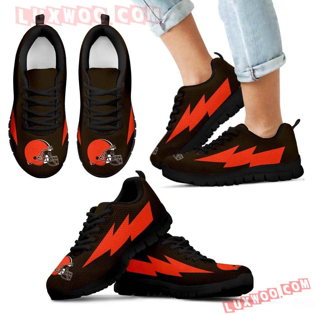 Awesome Cleveland Browns Sneakers Thunder Lightning Amazing Logo