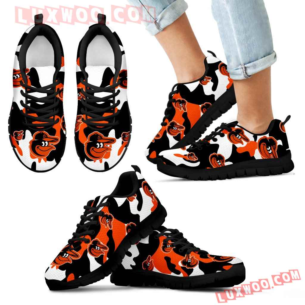 Baltimore Orioles Cotton Camouflage Fabric Military Solider Style Sneakers
