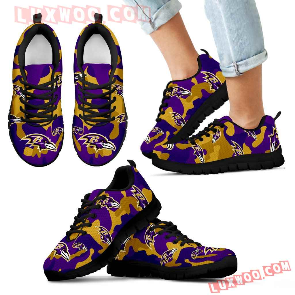 Baltimore Ravens Cotton Camouflage Fabric Military Solider Style Sneakers