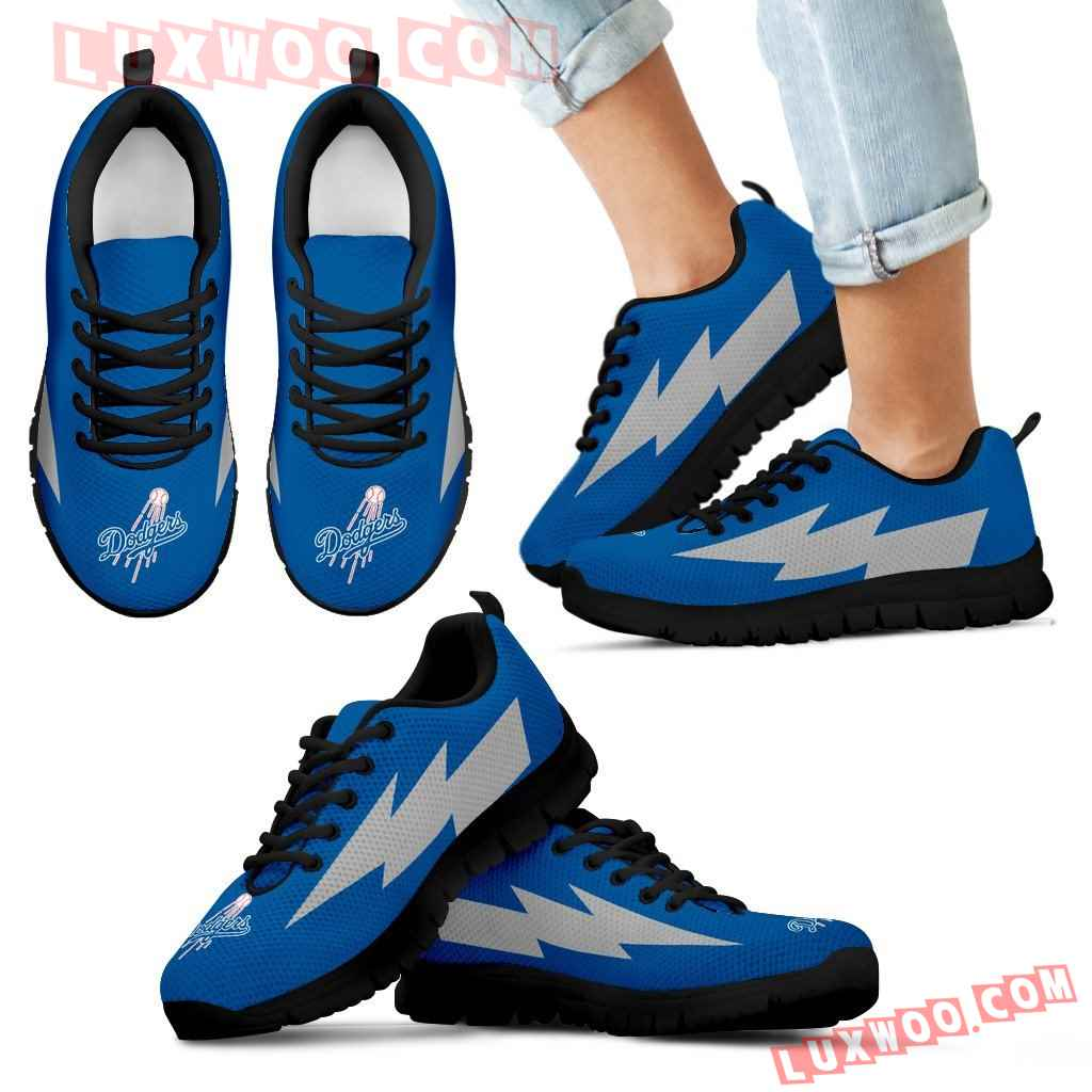 Beautiful Los Angeles Dodgers Sneakers Thunder Lightning Amazing Logo