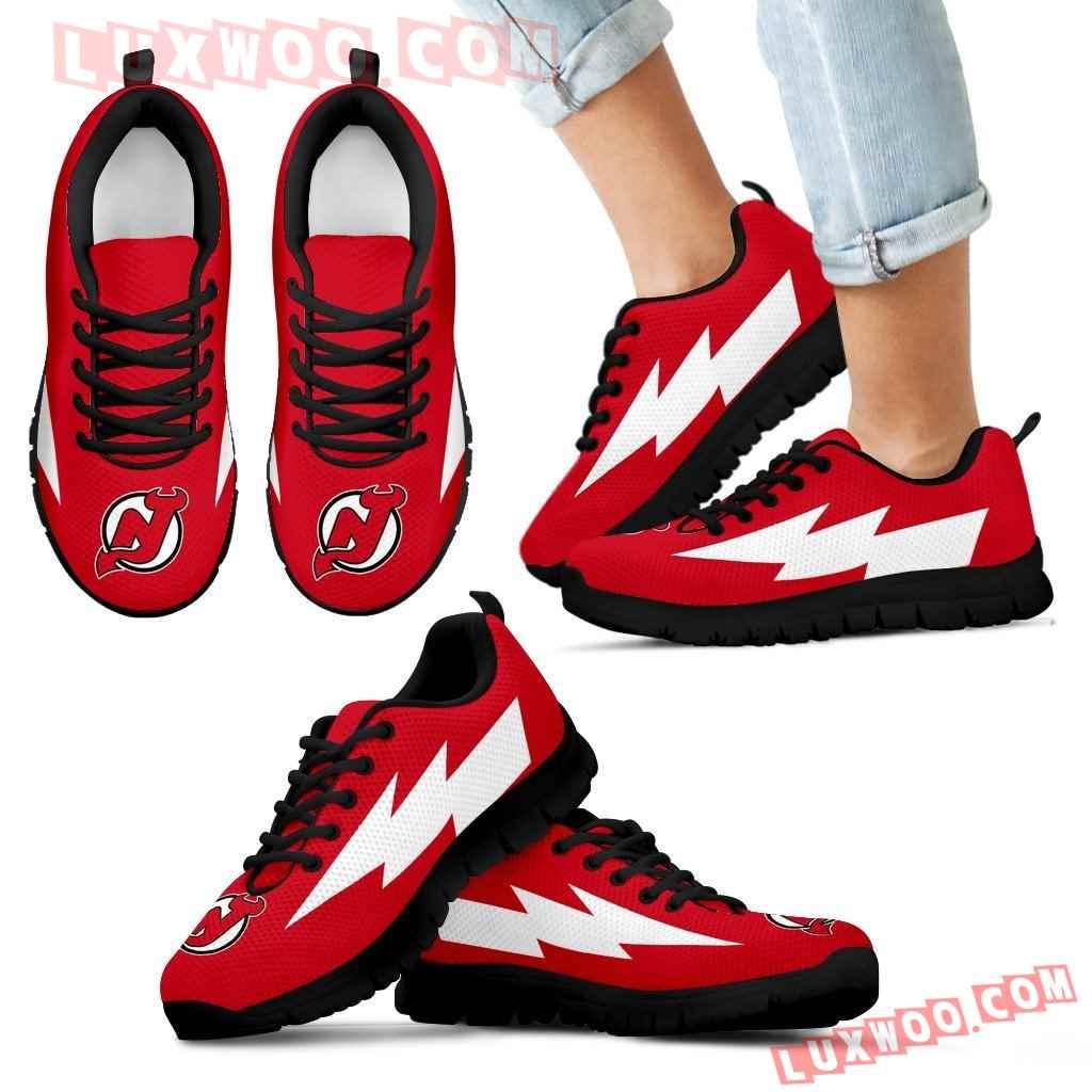 Best Style New Jersey Devils Sneakers Thunder Lightning Amazing Logo
