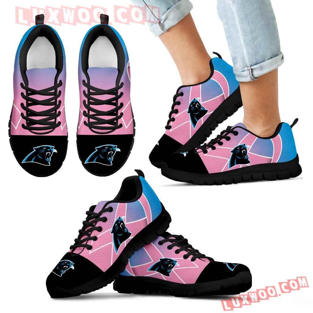 Carolina Panthers Cancer Pink Ribbon Sneakers