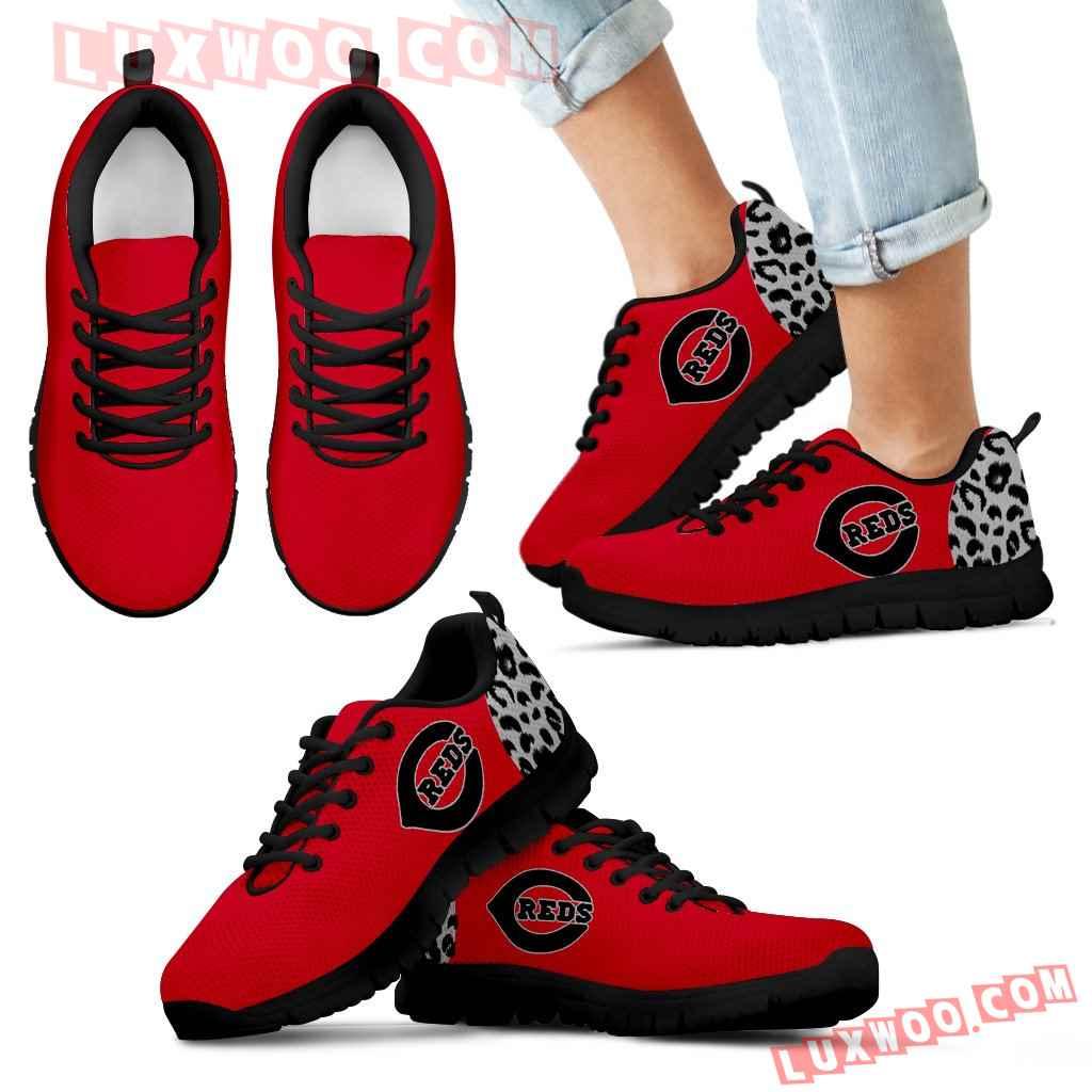 Cheetah Pattern Fabulous Cincinnati Reds Sneakers