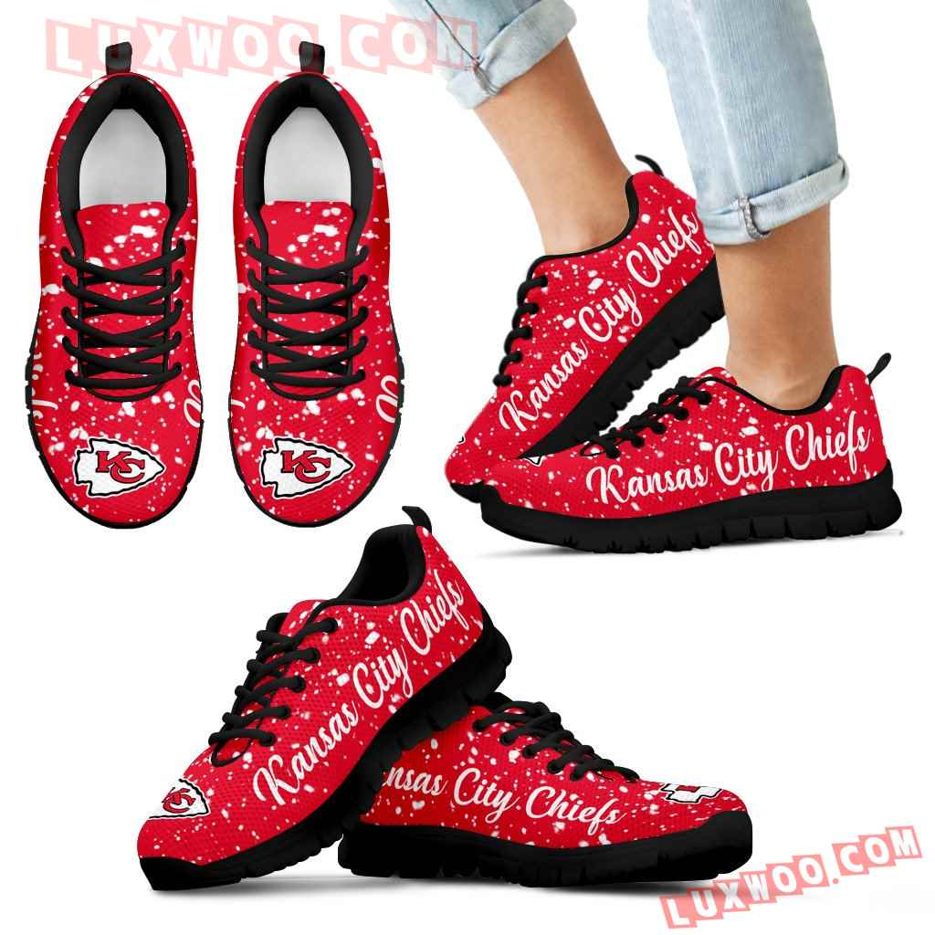 Christmas Snowing Incredible Pattern Kansas City Chiefs Sneakers