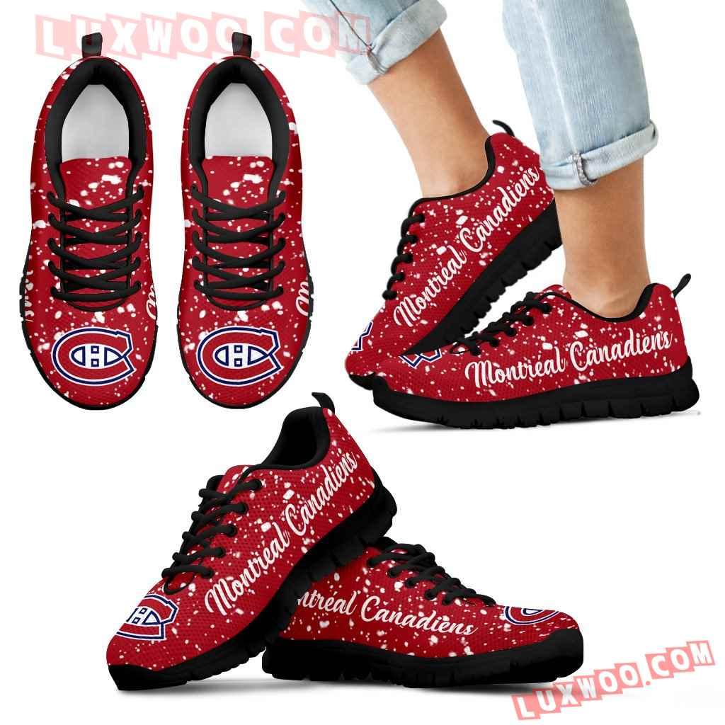 Christmas Snowing Incredible Pattern Montreal Canadiens Sneakers