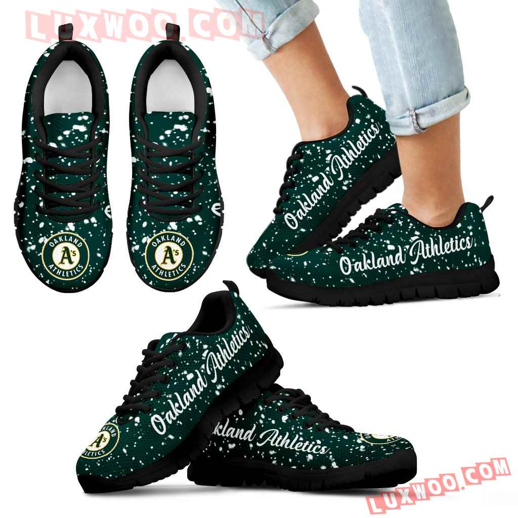Christmas Snowing Incredible Pattern Oakland Athletics Sneakers