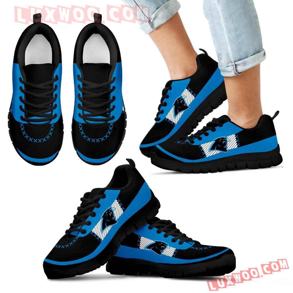 Cross Thread Seamless Beautiful Logo Carolina Panthers Sneakers
