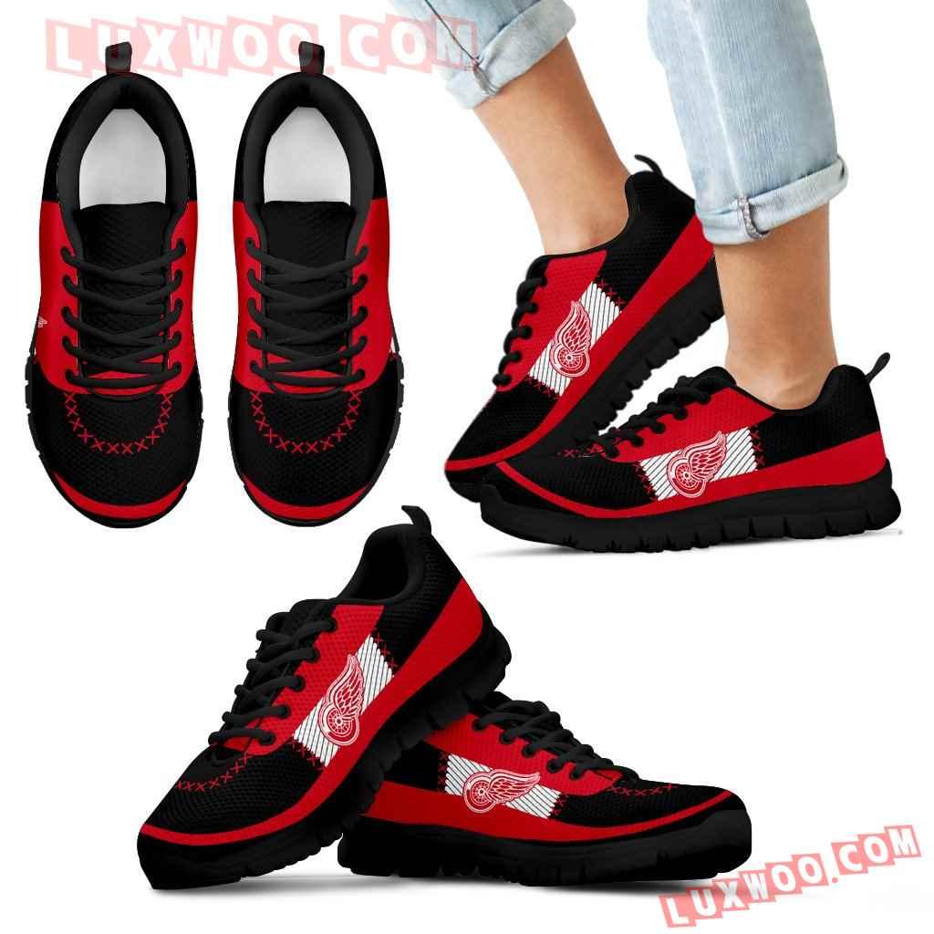 Cross Thread Seamless Beautiful Logo Detroit Red Wings Sneakers