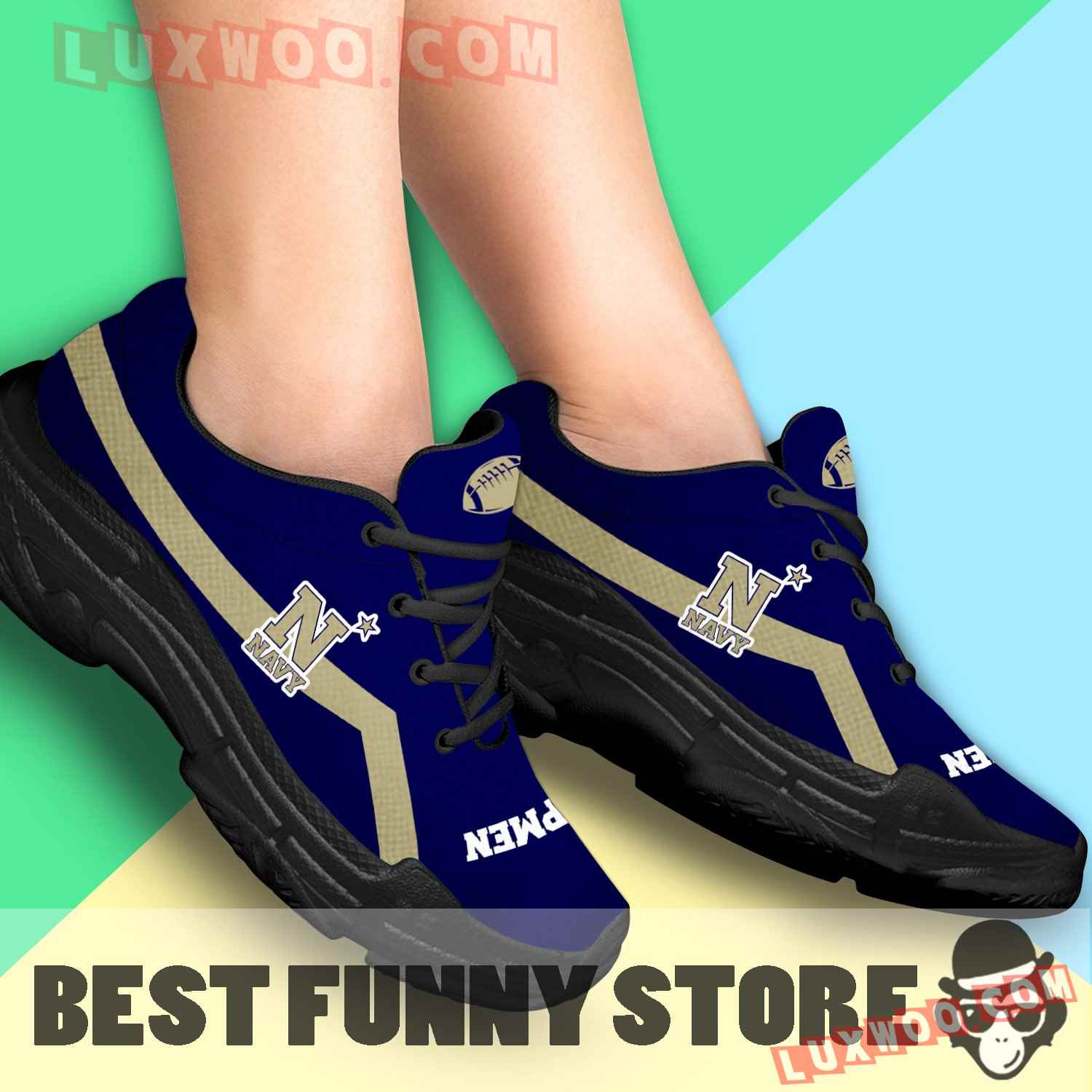 Edition Chunky Sneakers With Line Navy Midshipmen Shoes