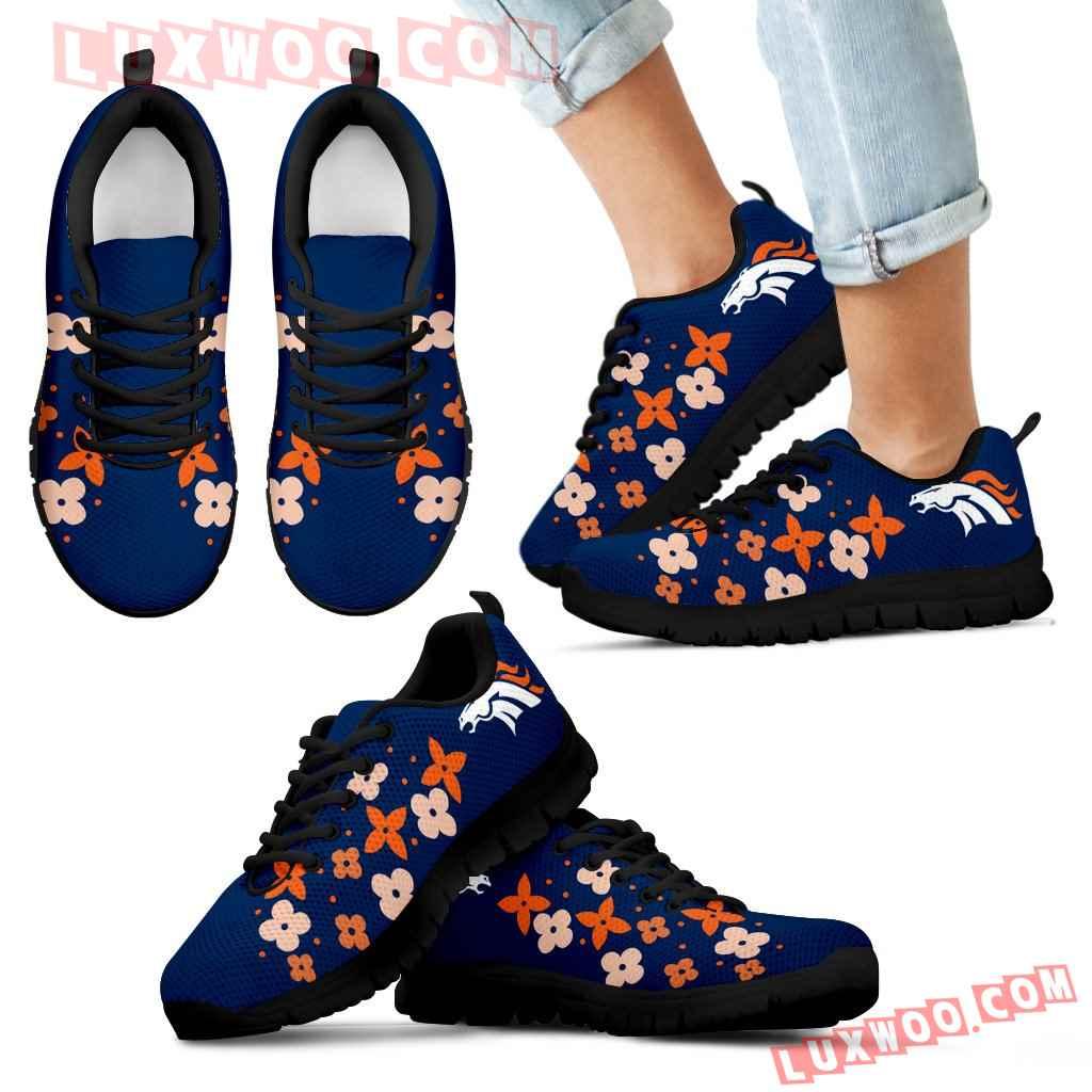 Flowers Pattern Denver Broncos Sneakers