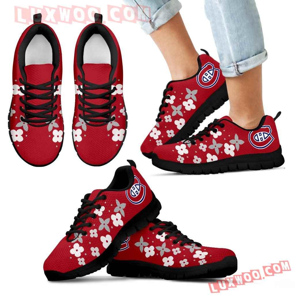 Flowers Pattern Montreal Canadiens Sneakers