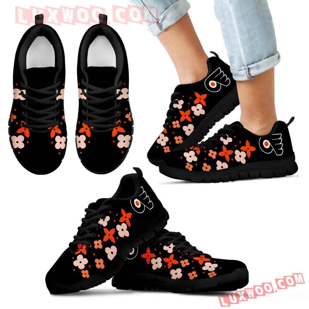 Flowers Pattern Philadelphia Flyers Sneakers