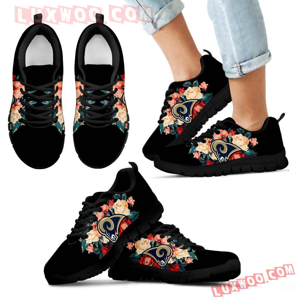 Gorgeous Flowers Background Insert Pretty Logo Los Angeles Rams Sneakers