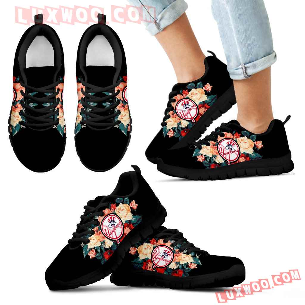 Gorgeous Flowers Background Insert Pretty Logo New York Yankees Sneakers
