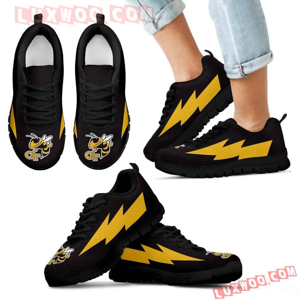 Hot Georgia Tech Yellow Jackets Sneakers Thunder Lightning Amazing Logo