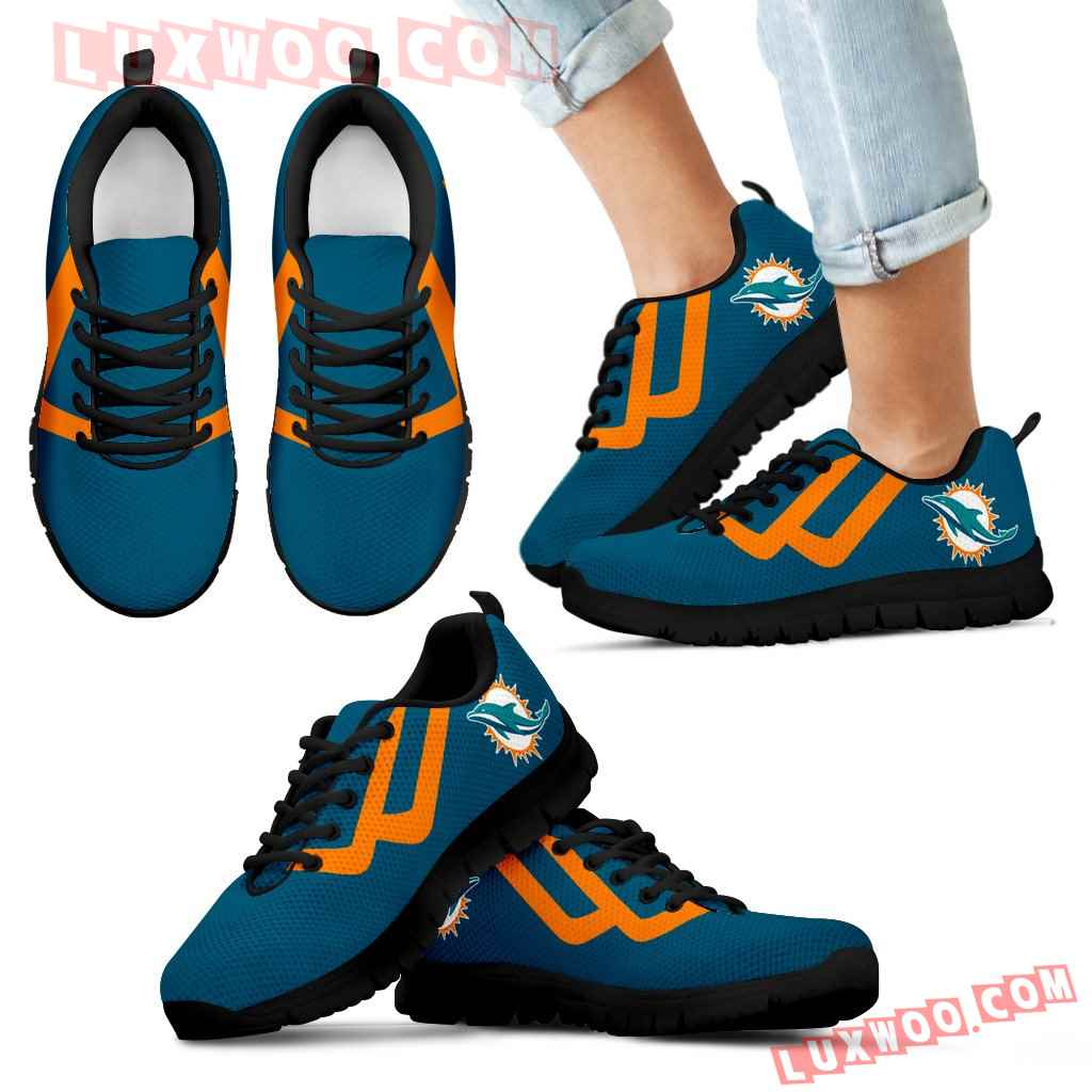 Line Bottom Straight Miami Dolphins Sneakers