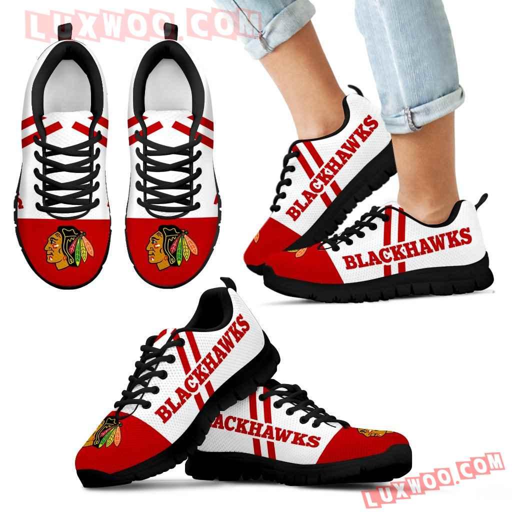 Line Stripe Logo Bottom Chicago Blackhawks Sneakers