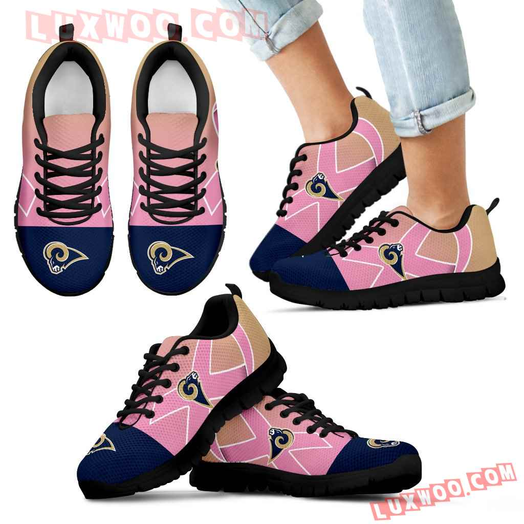 Los Angeles Rams Cancer Pink Ribbon Sneakers
