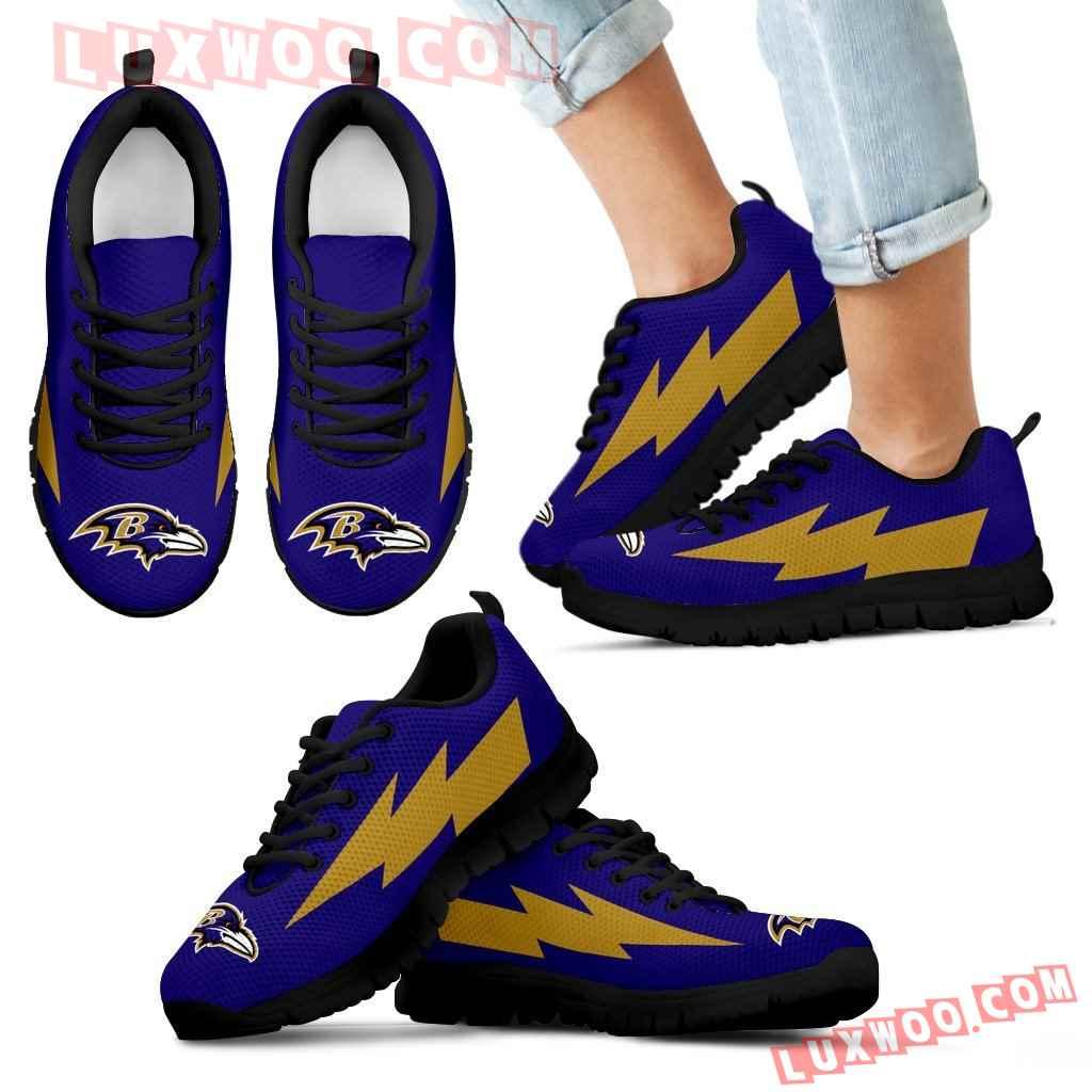 Lovely Baltimore Ravens Sneakers Thunder Lightning Amazing Logo