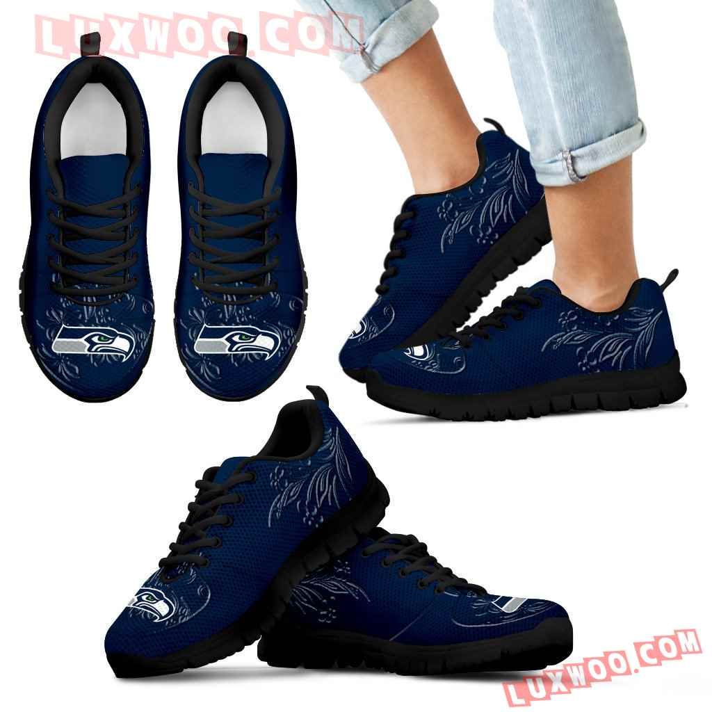 Lovely Floral Print Seattle Seahawks Sneakers