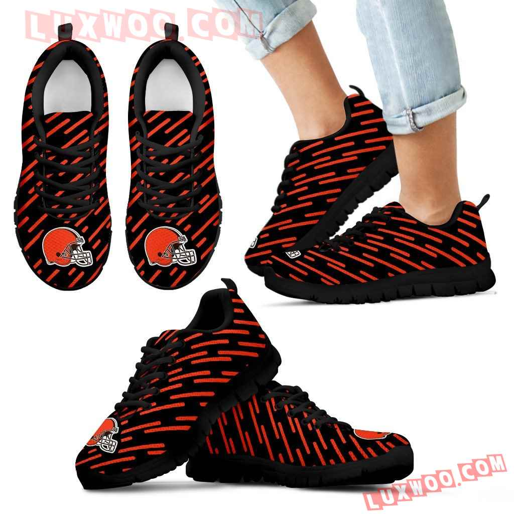 Marvelous Striped Stunning Logo Cleveland Browns Sneakers