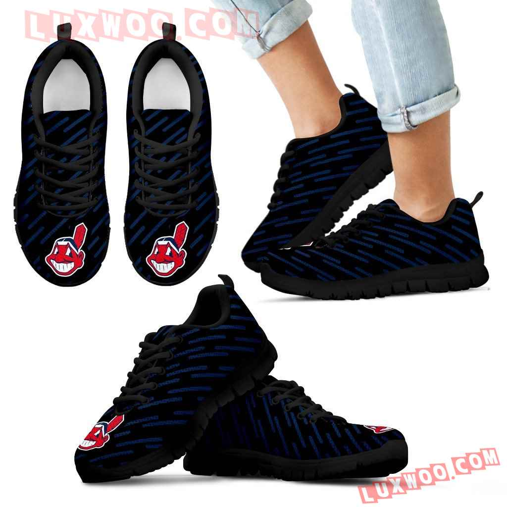 Marvelous Striped Stunning Logo Cleveland Indians Sneakers