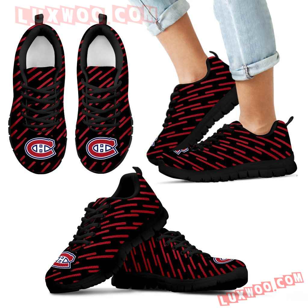 Marvelous Striped Stunning Logo Montreal Canadiens Sneakers
