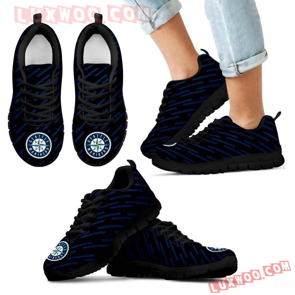 Marvelous Striped Stunning Logo Seattle Mariners Sneakers