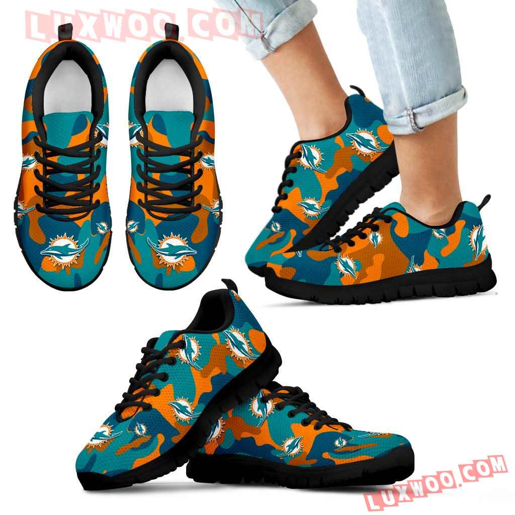 Miami Dolphins Cotton Camouflage Fabric Military Solider Style Sneakers