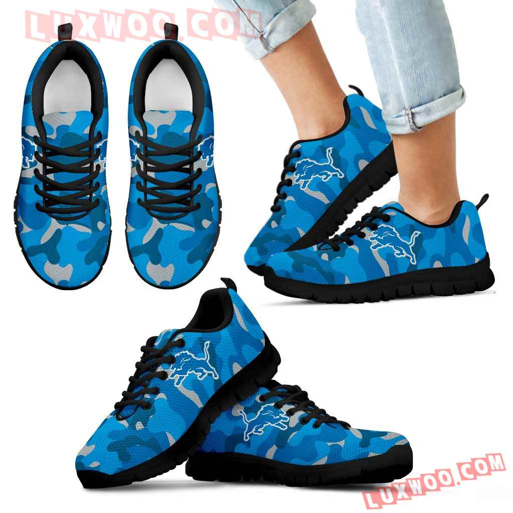 Military Background Energetic Detroit Lions Sneakers