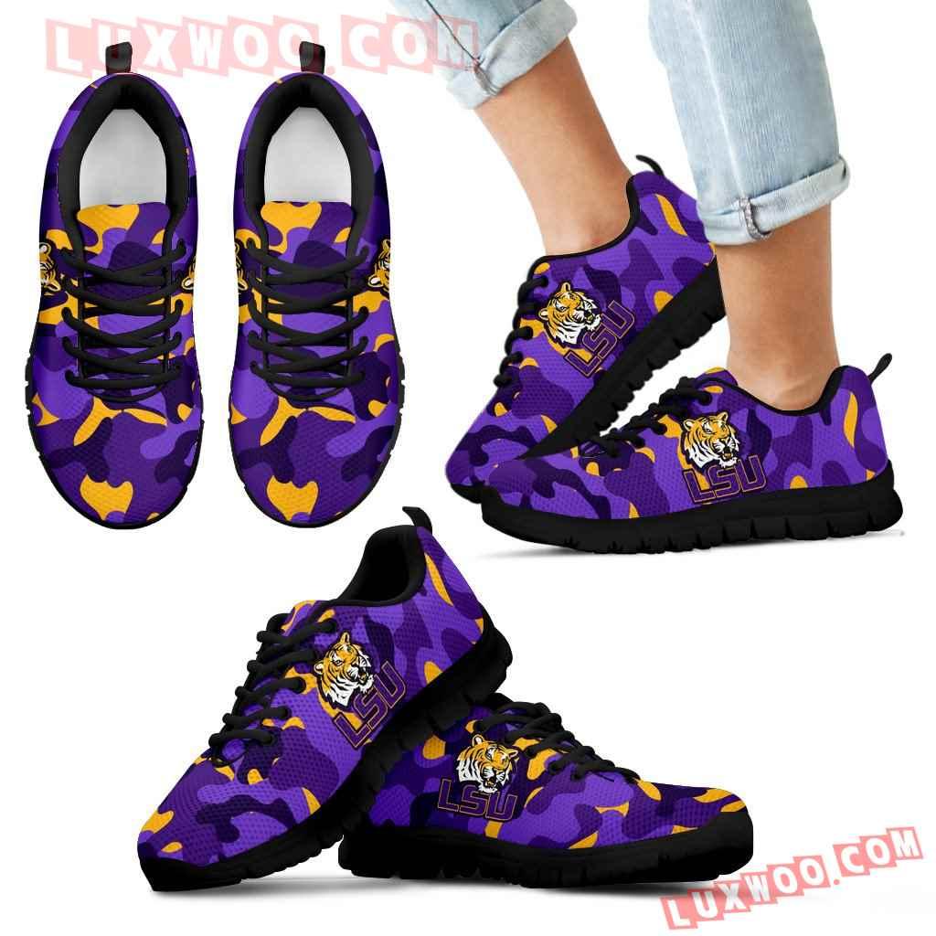 Military Background Energetic Lsu Tigers Sneakers