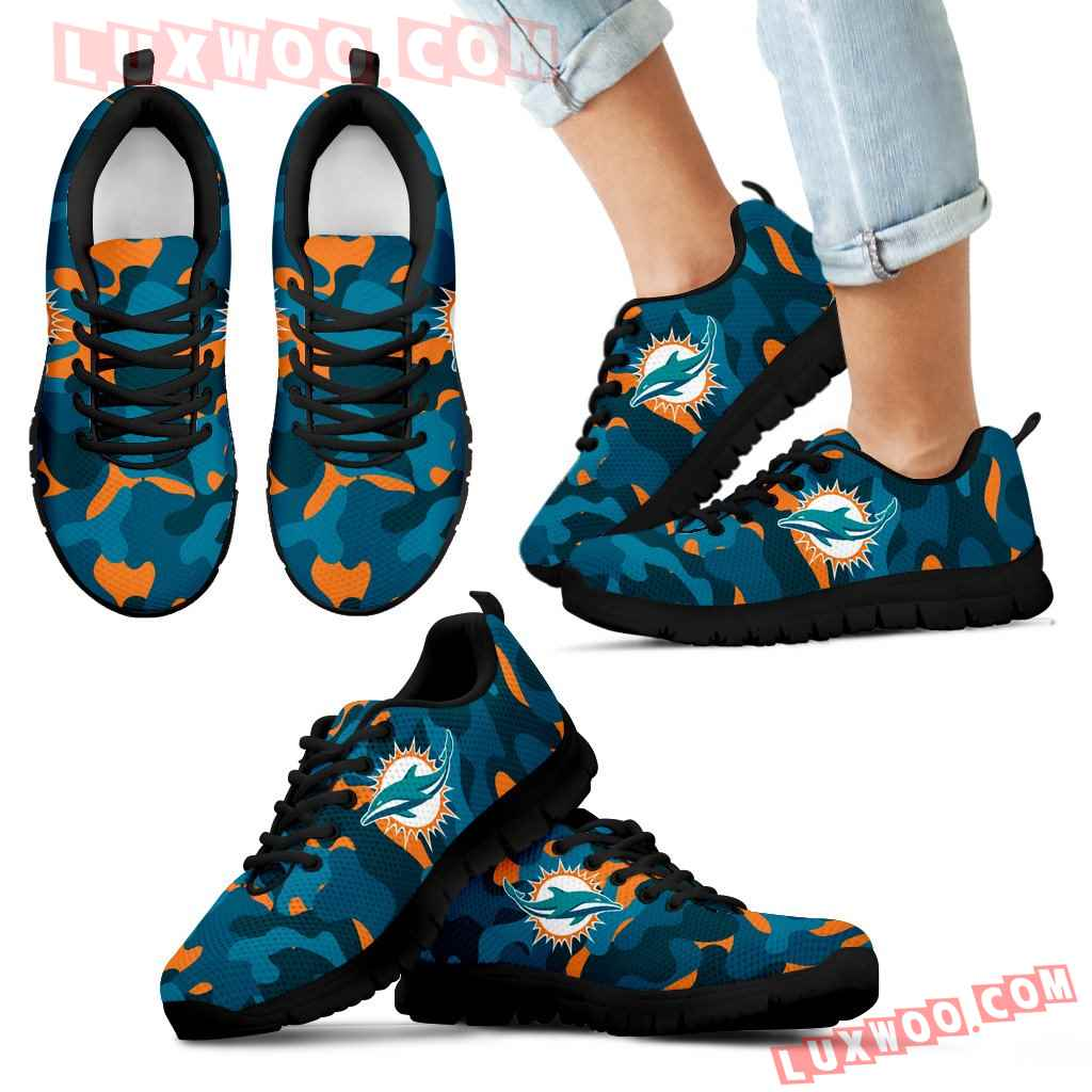Military Background Energetic Miami Dolphins Sneakers