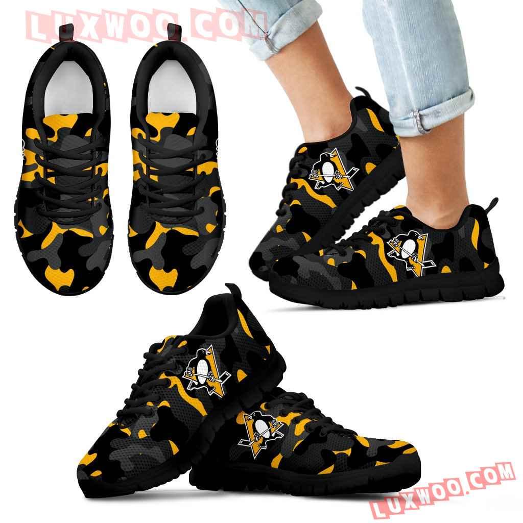 Military Background Energetic Pittsburgh Penguins Sneakers