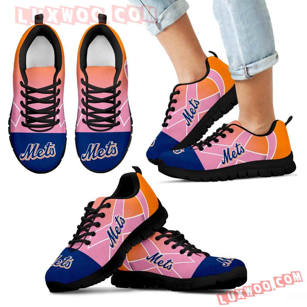 New York Mets Cancer Pink Ribbon Sneakers