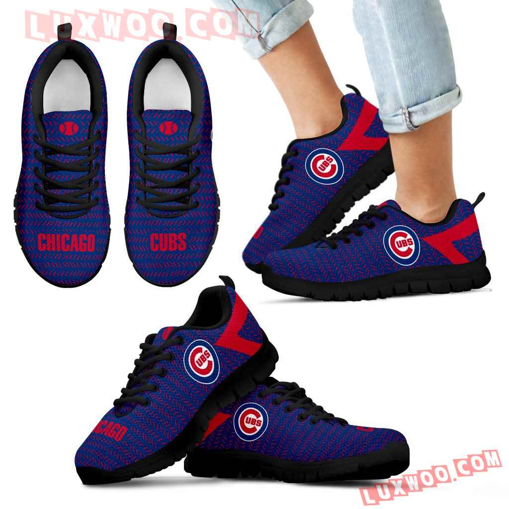 Pattern Logo Slide In Line Chicago Cubs Sneakers