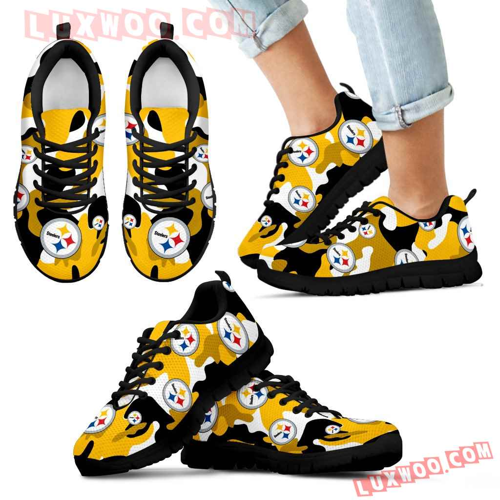 Pittsburgh Steelers Cotton Camouflage Fabric Military Solider Style Sneakers