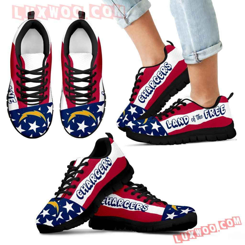 Proud Of American Flag Three Line Los Angeles Chargers Sneakers