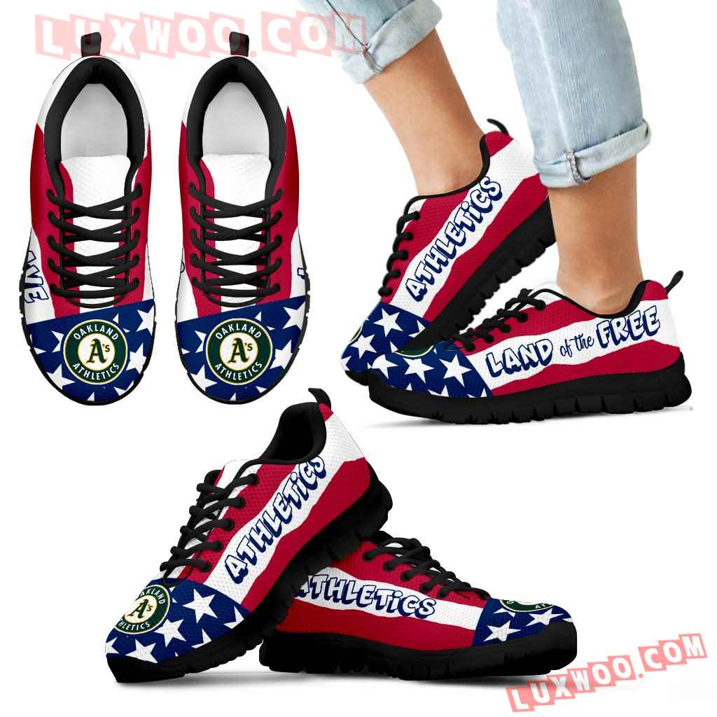 Proud Of American Flag Three Line Oakland Athletics Sneakers