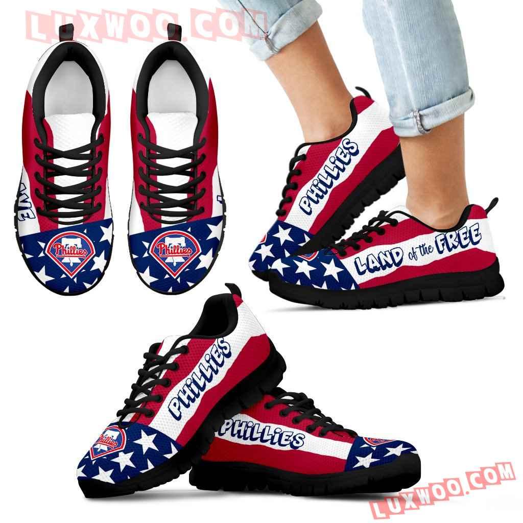 Proud Of American Flag Three Line Philadelphia Phillies Sneakers