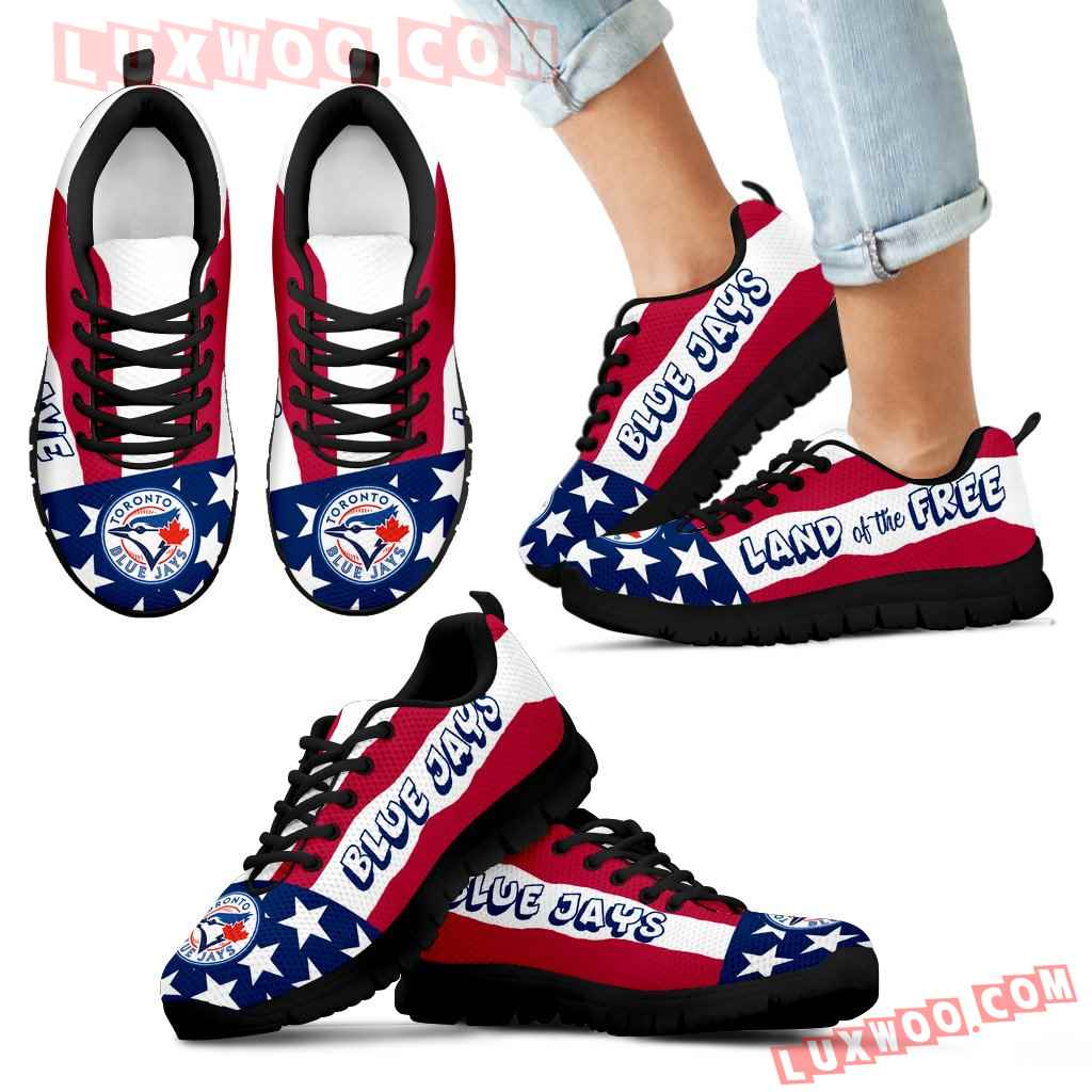 Proud Of American Flag Three Line Toronto Blue Jays Sneakers