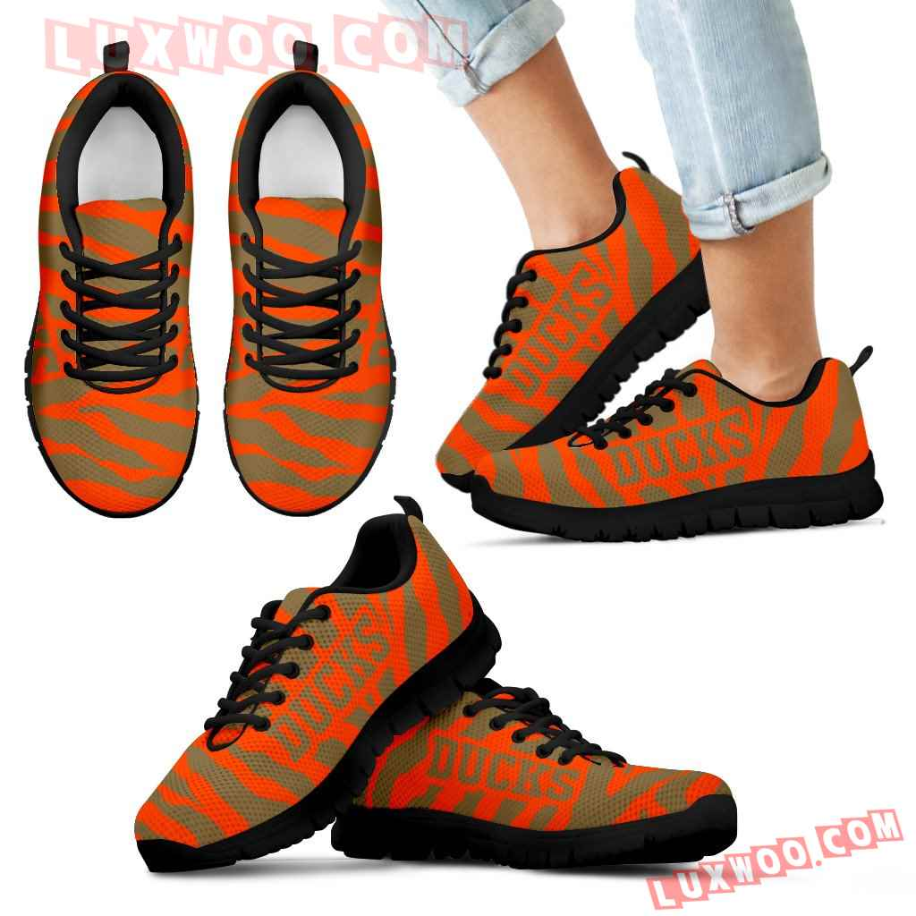 Tiger Skin Stripes Pattern Print Anaheim Ducks Sneakers