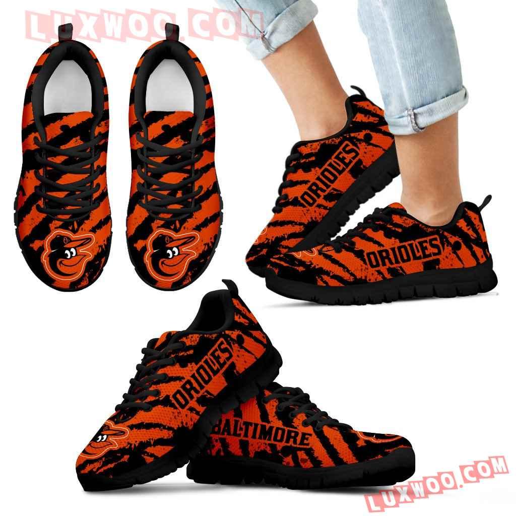 Stripes Pattern Print Baltimore Orioles Sneakers V3