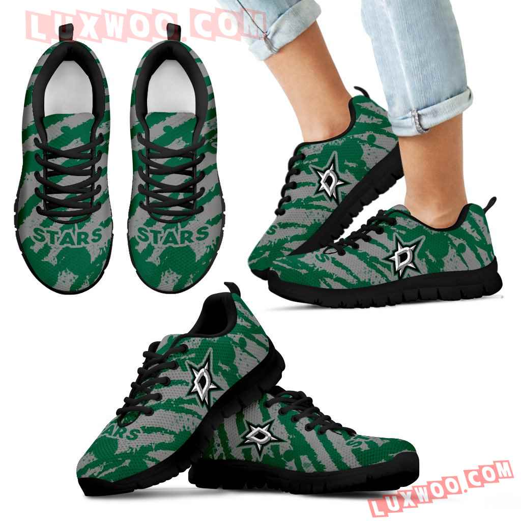 Stripes Pattern Print Dallas Stars Sneakers
